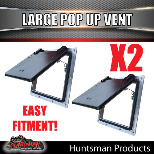 X2 Large black pop up ROOF AIR VENTS