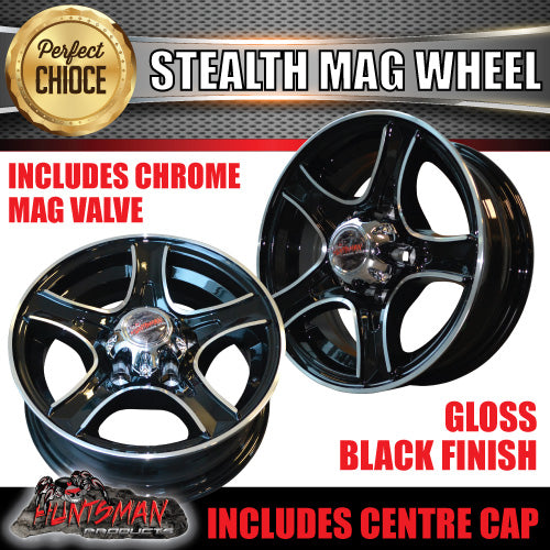 14X5.5 Stealth Alloy Mag Wheel: suits Ford pattern