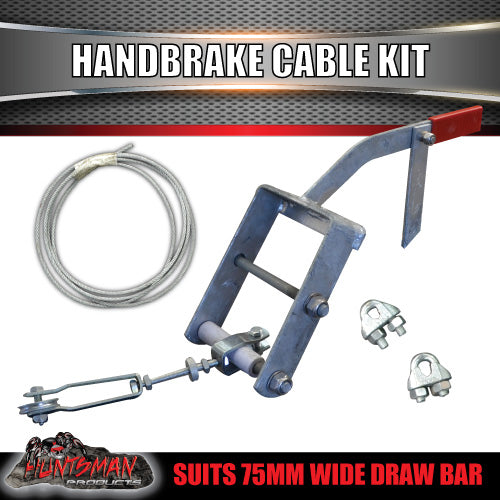 Mechanical Brake Marine Lever & cable kit suit 75mm Draw Bar