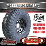 "295/70R17 L/T MAXXIS RAZR MT772  MUD TYRE ON 17"" BLACK STEEL RIM"
