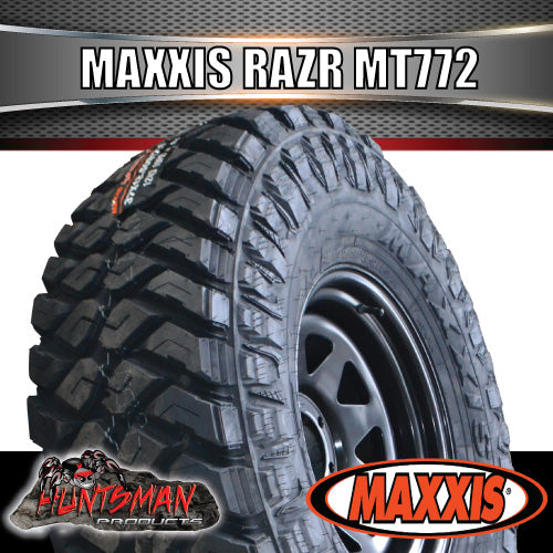 "35x12.5R17 L/T MAXXIS RAZR MT772 on 17"" BLACK RIMS. 35 12.5 17"