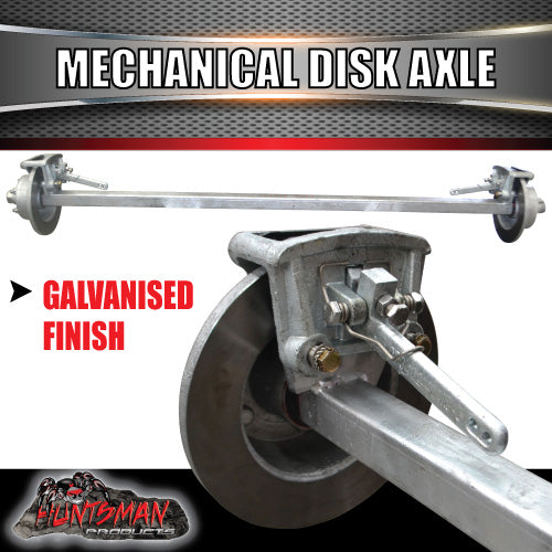 "Galvanised 45mm Square Mechanical Disc Braked Trailer Axle. 1400Kg rated 78""-96"""
