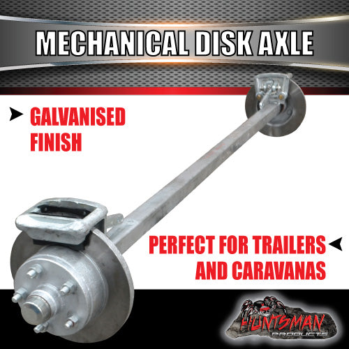 Galvanised 40mm Square Mechanical Disc Braked Axle. 1000Kg rated 63