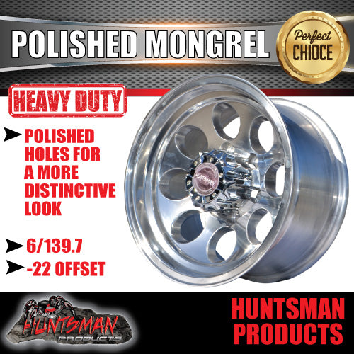 15X8 -22 Mongrel Alloy 6/139.7 pcd. Polished finish