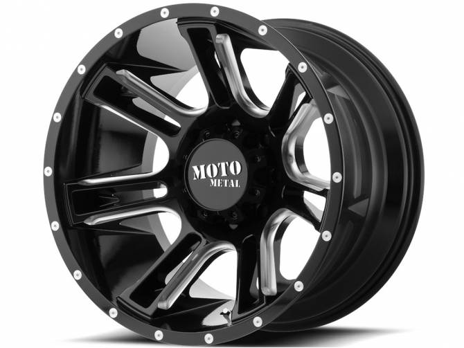 Moto Metal, Amp,20 inch MO982 20x9 Gloss Black/Milled Alloy Mag Wheel Rim
