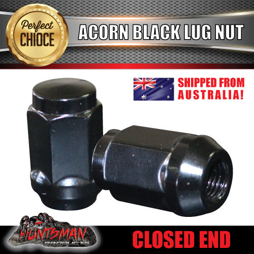 "1 x 7/16"" Inch x 35mm Black Wheel Nut Steel / Alloy Mags Holden & Trailer"