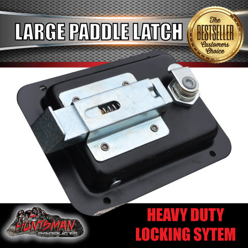x1 Large Paddle Handle Lock Latch. Black Powdercoated.