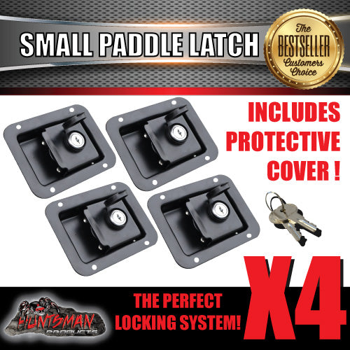 x4 Paddle Handle Lock Latch. Black Powdercoated.