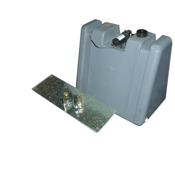 60 LITRE UPRIGHT WATER TANK WITH MOUNT KIT AND 12V PUMP