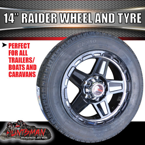 "14"" & 175/65R14 LT Tyre Raider Alloy Mag Wheel suits Ford"