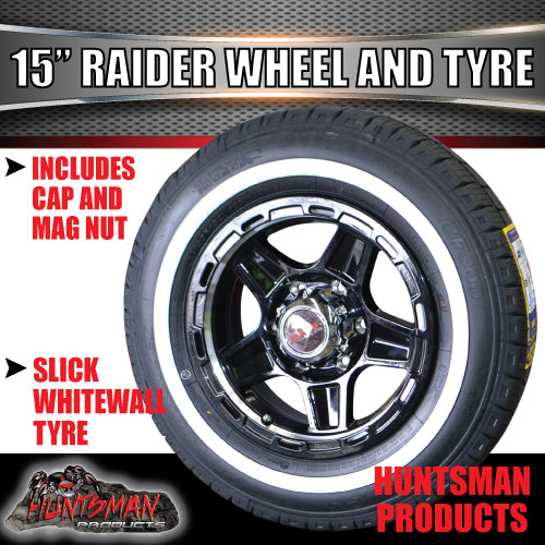 "15"" 6 Stud Raider Mag & 195R15C Whitewall Tyre. 195 15"