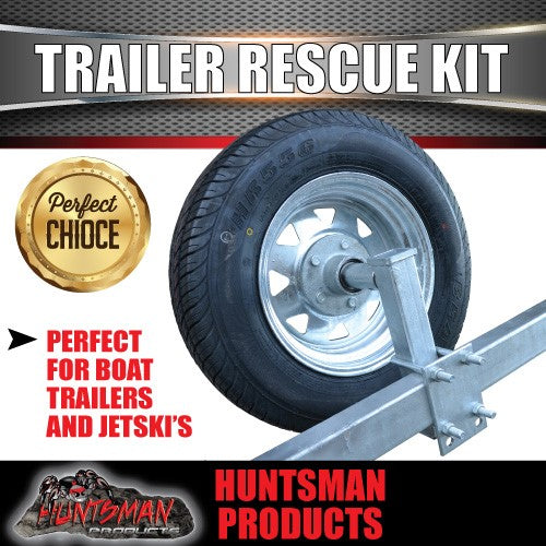 Trailer Rescue Kit , Spare Wheel, 165r13 Tyre & Holder inc hub & LM bearings