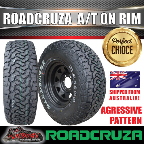 "16"" Black Steel Wheel & Roadcruza 225/75R16 L/T RA1100"