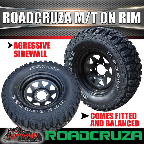 "31X10.5R15L/T Roadcruza Mud tyre on 15"" black steel rim"