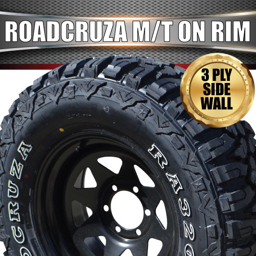 "17"" black steel wheel & Roadcruza 33X12.5R17 L/T MUD tyre."