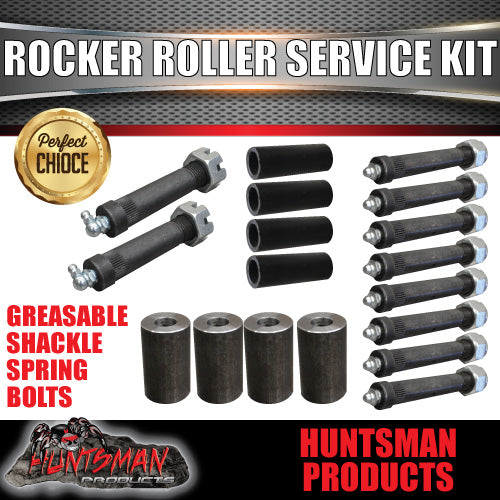 Rocker Roller Trailer Caravan Replacement Service Kit inc Shackle Bolts Bushes