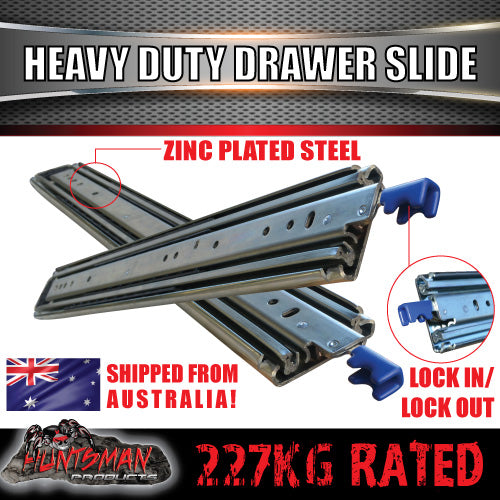 "Pair 227kg x 350mm 14"" (closed) Lock in/out Drawer Slides."