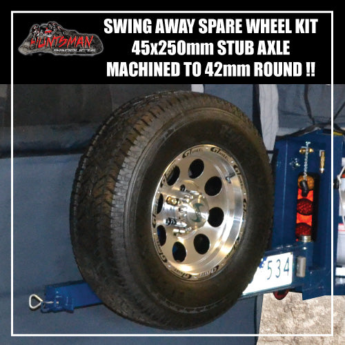 SWING AWAY SPARE WHEEL BRACKET HINGE KIT 45X250MM STUB AXLE