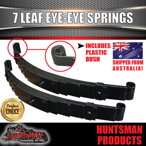 PAIR 7 LEAF EYE TO EYE TRAILER SPRINGS. 45MM X 6MM 1200KG RATED