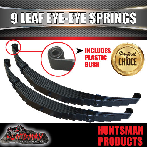 PAIR 9 LEAF EYE TO EYE TRAILER SPRINGS. 45MM X 6MM