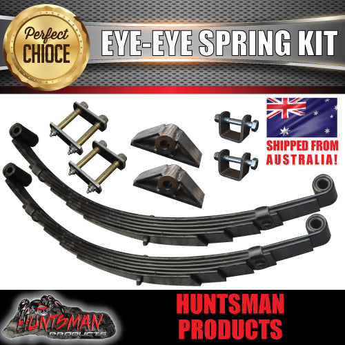 6 Leaf 60mm Wide Eye to Eye Trailer Springs & Hanger Kit 1350Kg Rated.