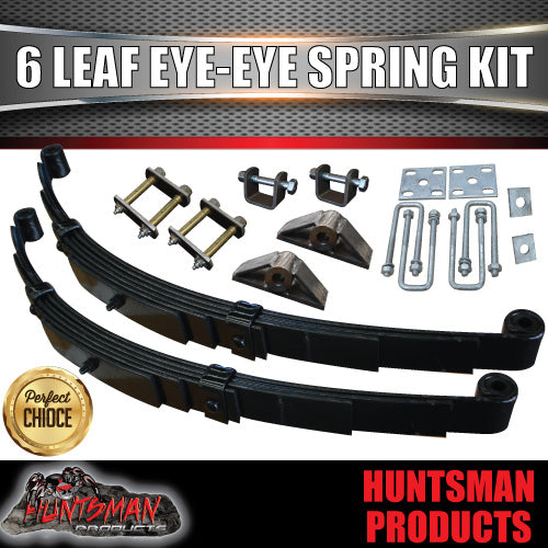 6 Leaf 60mm Wide Eye to Eye Trailer Springs, Hanger & Ubolt Kit 1500Kg Rated.