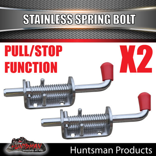 X2 Truck Trailer Stainless Spring Bolt Latch Catch. 12X160MM
