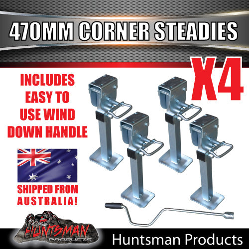 X4 470mm DROP DOWN CORNER STEADIES, STABILIZER LEGS. & HANDLE