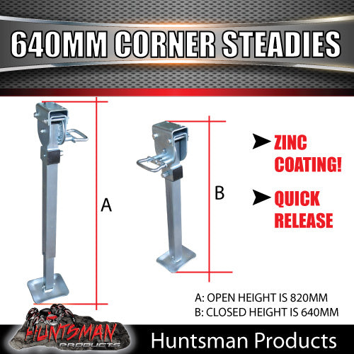 X2 640mm DROP DOWN CORNER STEADIES, STABILIZER LEGS. & HANDLE