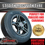 "13"" Stealth Alloy Mag & 155R13C Tyre. suits Ford pattern. 155 13"