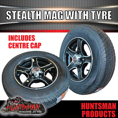 "13"" Stealth Alloy Mag & 155R13C Tyre. suits Ford pattern"