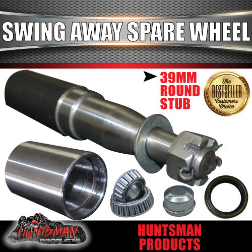 SWING AWAY SPARE WHEEL BRACKET HINGE KIT 39X250MM STUB AXLE