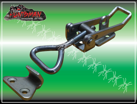 LARGE ZINC FINISH TOGGLE LATCH. OVER CENTRE LATCH.
