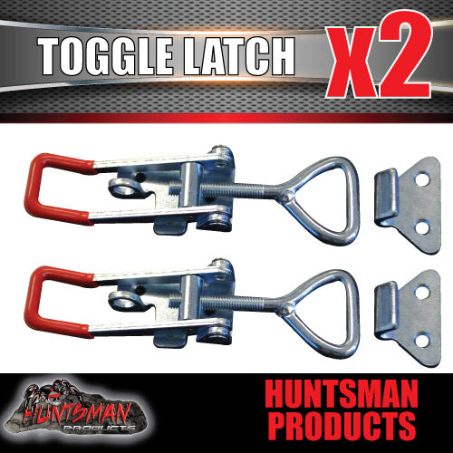 x2 Large Zinc Toggle Latch Over Centre Fasteners