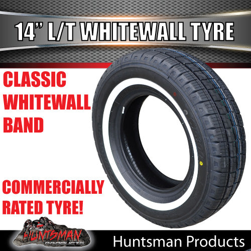 "14"" WHITEWALL 195R14C COMFORSER TYRE."