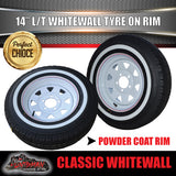 14X6 White Steel Rim & 185R14C Whitewall Tyre suits HQ Holden. 185 14