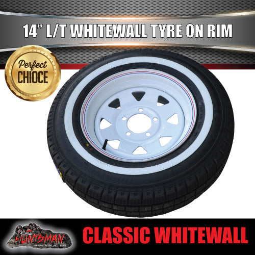 14X6 White Ford Pattern Steel Rim & 205/75R14C Whitewall Tyre