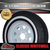 14X6 White Steel Rim & 185R14C Whitewall Tyre suits HT Holden. 185 14