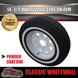 14X6 White Steel Rim & 185R14C Whitewall Tyre suits HT Holden