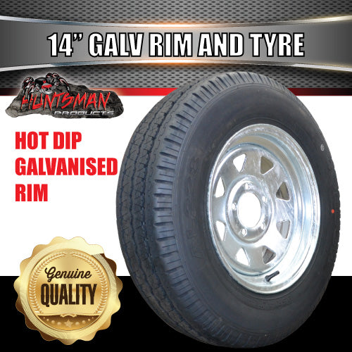 "14"" GALVANISED HT PATTERN STEEL RIM & 195R14C"