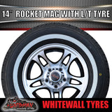 "14"" Rocket Alloy & 195R14C Whitewall Tyre suit HQ Holden. 195 14"