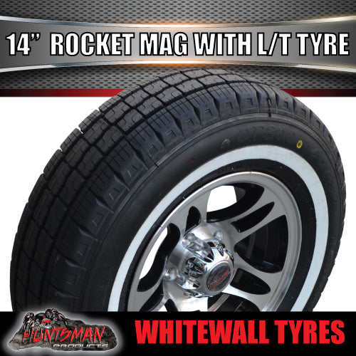 "14"" Ford Pattern Rocket Alloy & 195R14C Whitewall Tyre. 195 14"