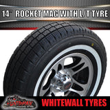 "14"" HQ Rocket Alloy & 185R14C Whitewall Tyre. 185 14"