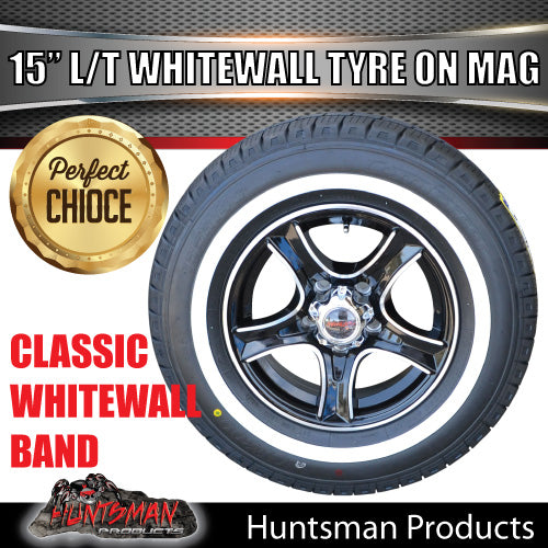 "15"" Ford Pattern Stealth Mag & 195R15C comforser Whitewall Tyre. 195 15"