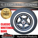 "15"" 6 Stud Stealth Mag & 205/75R15C comforser Whitewall Tyre"