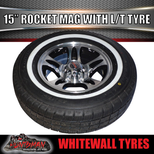 "15"" Ford Pattern Rocket Alloy & 195R15C Whitewall Tyre. 195 15"