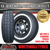 14X6 Black Steel Rim & 185R14C Whitewall Tyre suits HQ Holden