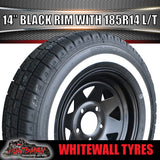 14X6 Black Steel Rim & 185R14C Whitewall Tyre suits Ford.