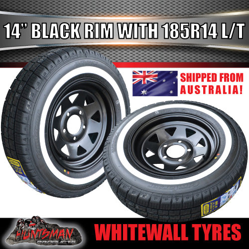 14X6 Black Steel Rim & 185R14C Whitewall Tyre suits HT