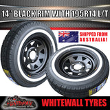 14X6 Ford Pattern Black Steel Rim & 195R14C Whitewall Tyre. 195 14